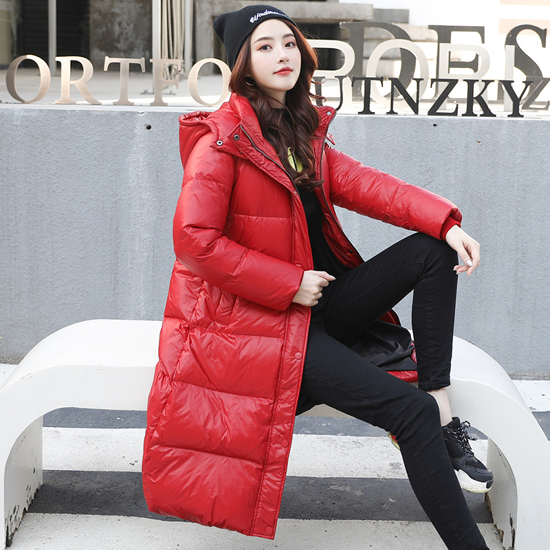 Red down jacket womens 2019 new popular medium long fashion long over the knee students Korean version in winter