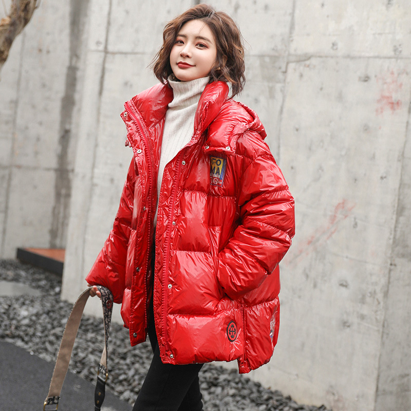 Red bright face down jacket womens short 2019 new bright leather Korean fashion hooded cold proof bread jacket