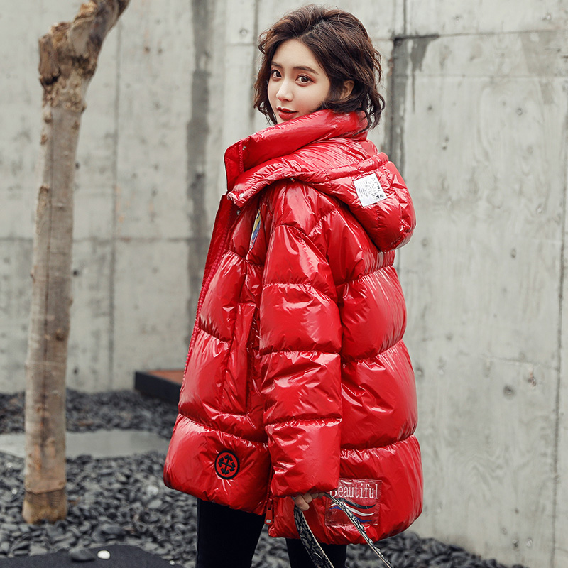Red bright face down jacket womens short 2019 new Korean fashion thickened small bread coat fashion