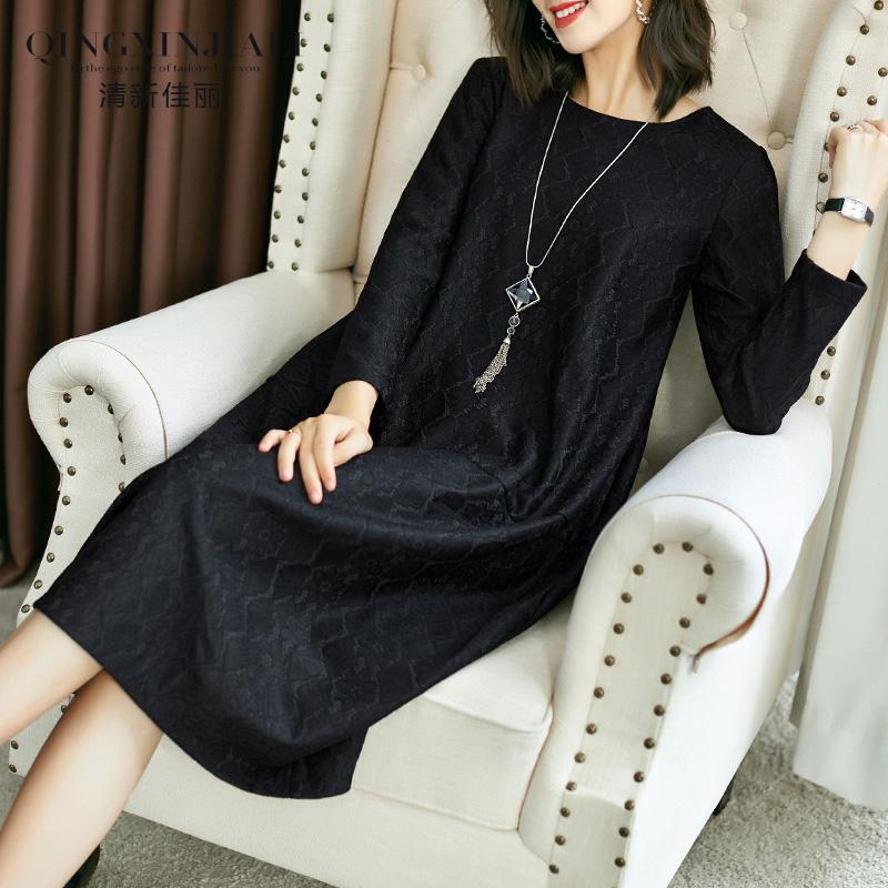 蕾丝秋冬2019新款宽松长袖连衣裙398.00元包邮