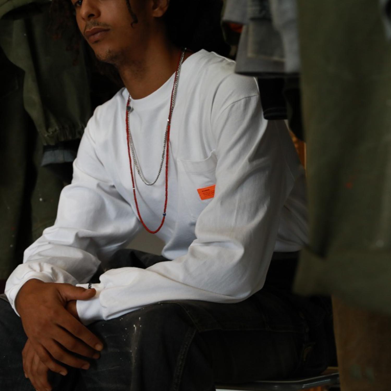 MADNESS LONG SLEEVE POCKET TEE 19AW 橙標口袋長袖T恤 余文樂男