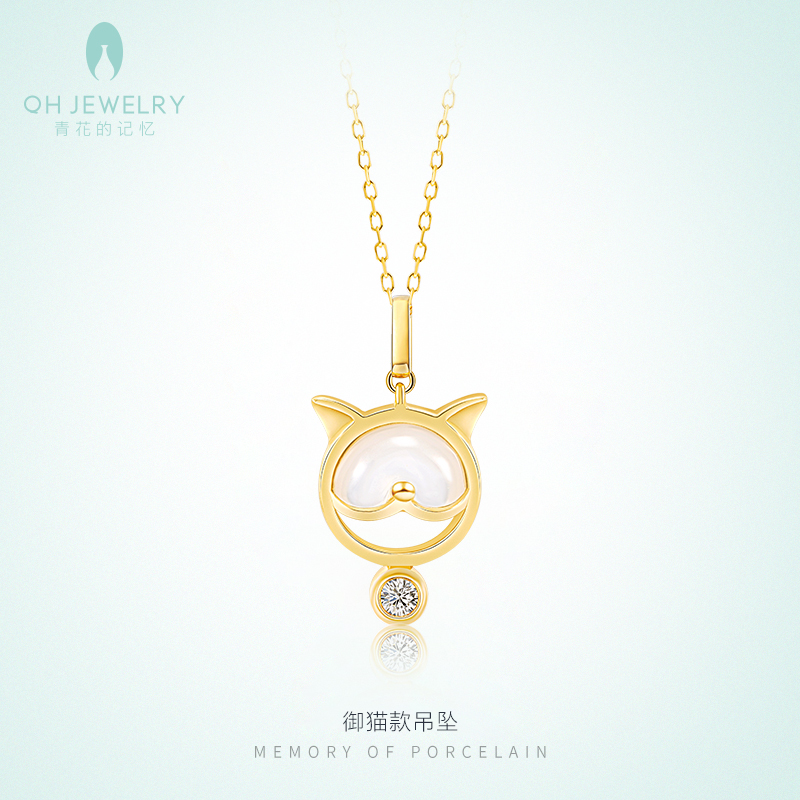 Memory of blue and white flowers 18K gold inlaid diamond white Fritillaria Necklace cute cute pendant clavicle chain simple couple gift