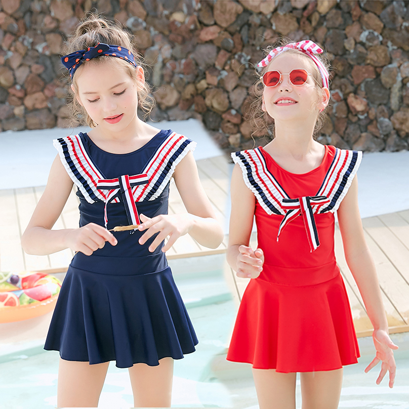 Middle school and university childrens one-piece skirt swimsuit Navy style primary and middle school students flat corner conservative swimsuit