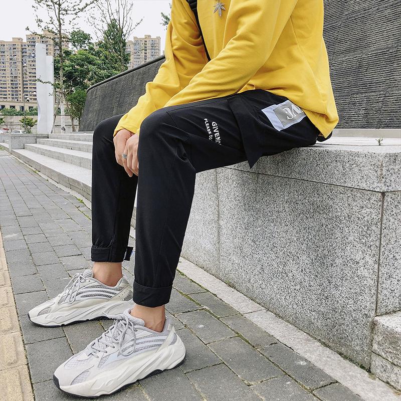 潮牌长裤男19 秋季大口袋潮流撞色印花工装休闲长裤119KAK157#P95