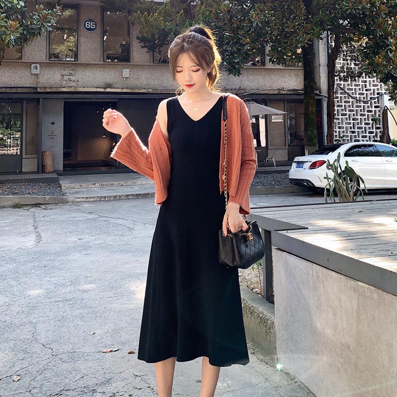 2019年初秋季新款时尚针织开衫上衣+小吊带连衣裙两件套装超仙潮券后39.98元