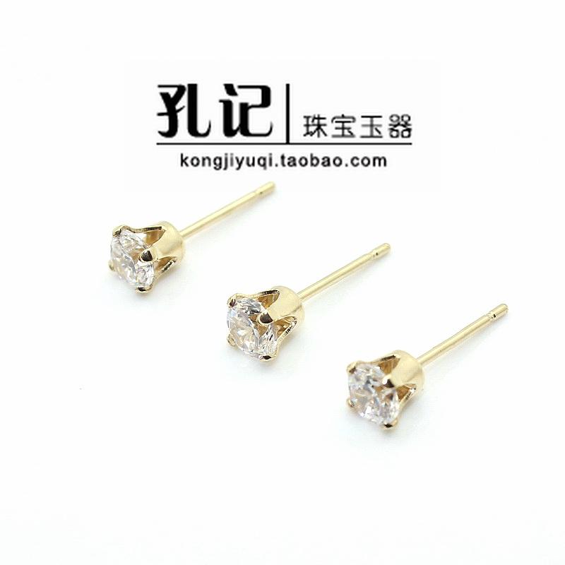 孔記 美國進口14K包金 鑲嵌白色鋯石 耳釘耳環 diy配件材料飾品