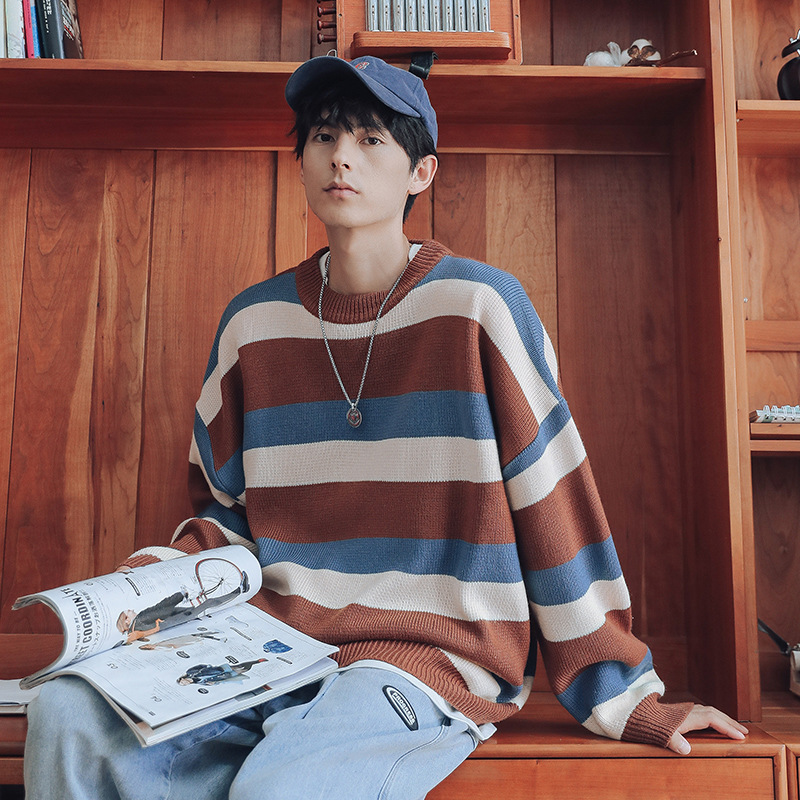 Fall / winter 2020 new striped sweater man fluffy soft loose T-shirt long sleeve casual Pullover boyfriend