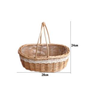 小花篮摆件藤编客厅插花手提伴手礼竹篮子韩式编织干花鲜花花筐