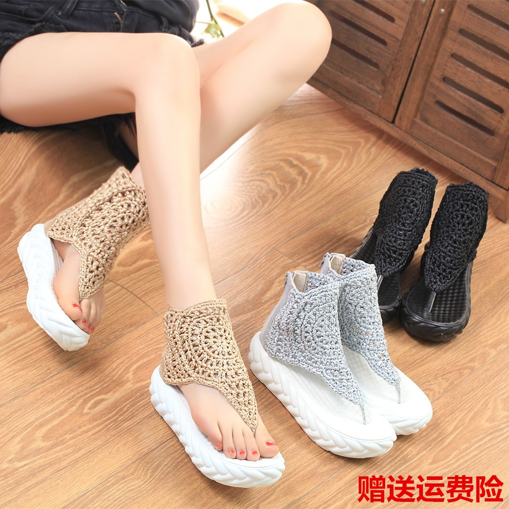 2020 sandals summer versatile slope heel thick bottom muffin womens shoes high top Roman shoes retro casual clip toe new style