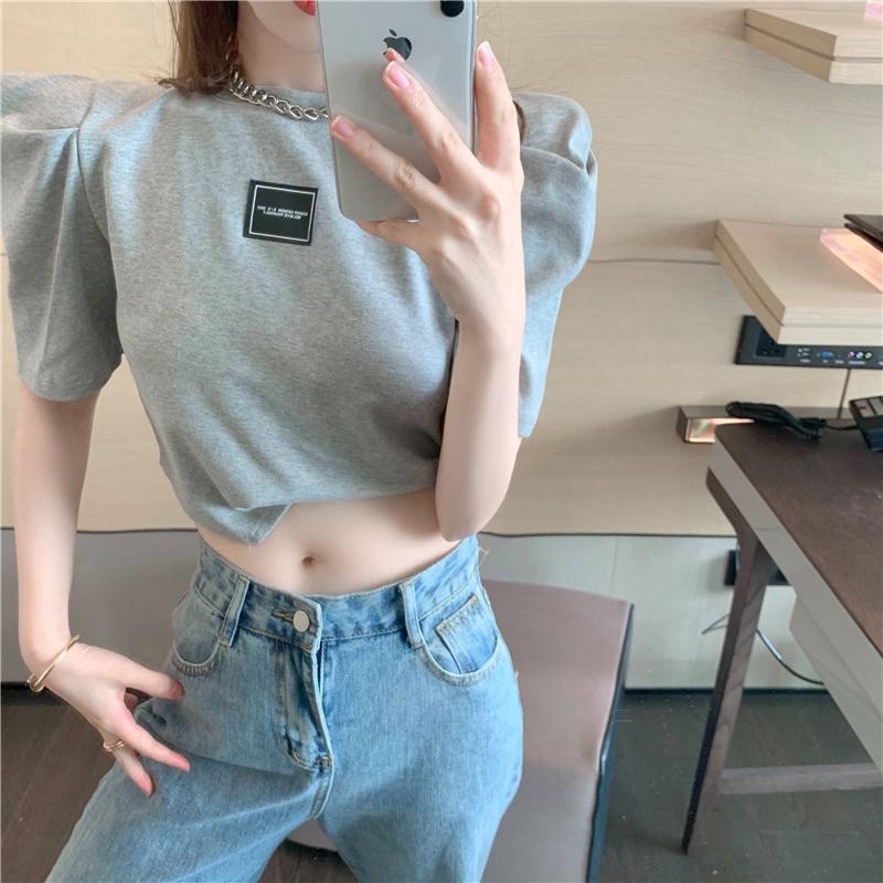 2021新款韩版小心机漏肚脐不规则圆领T恤女修身显瘦打底上衣