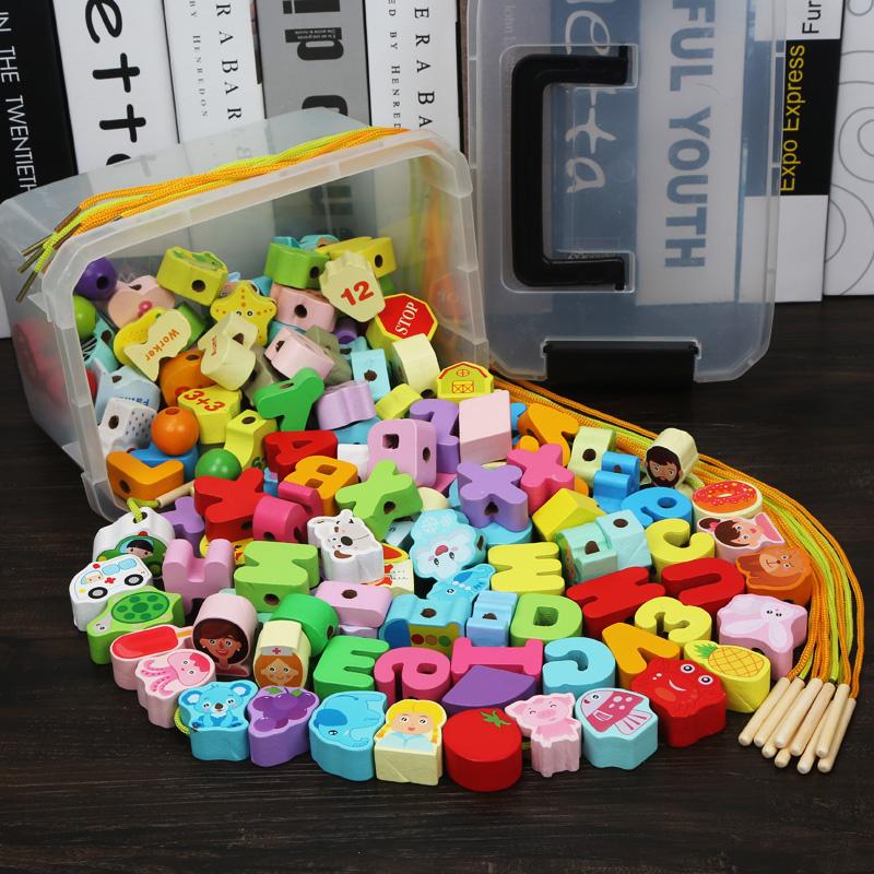 宝宝串珠玩具积木婴幼儿童木质益智