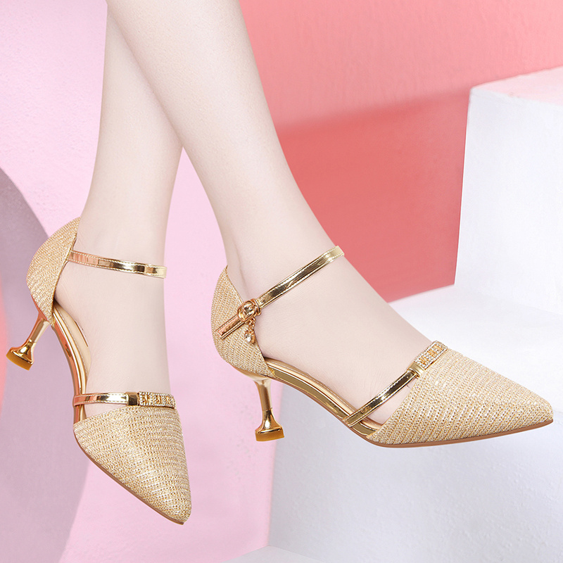 One line sandals womens 2020 new autumn Baotou single shoes with thin heel and French small high heels with skirt
