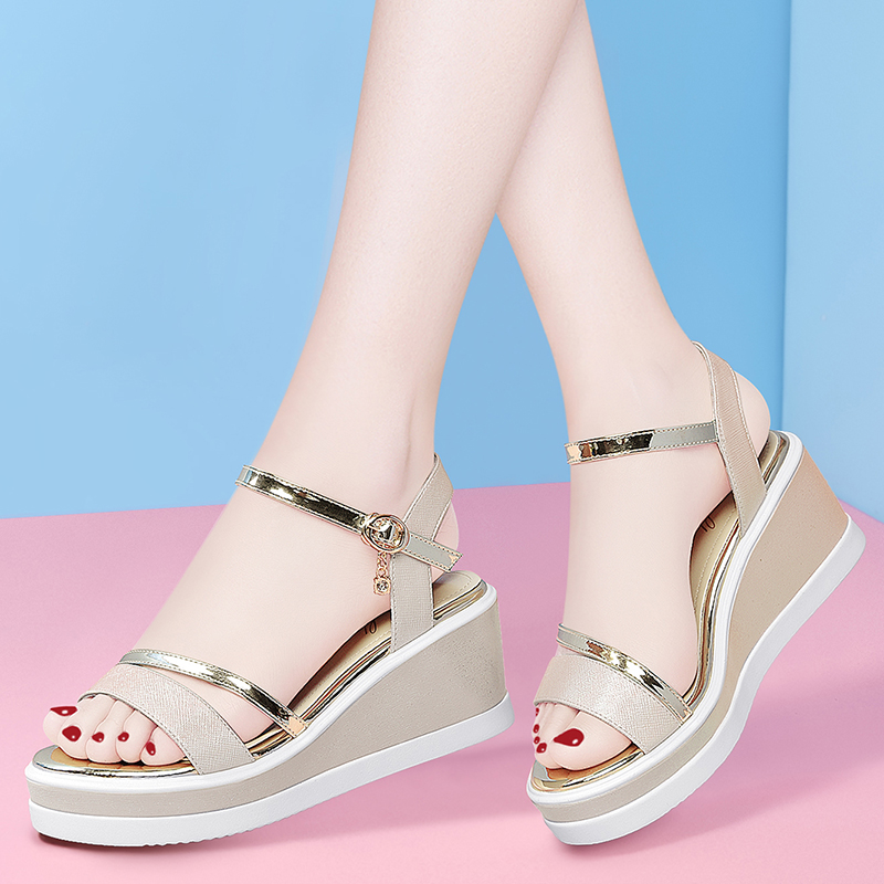 French one line sandals womens summer 2020 new FAIRY FASHION slope heel with skirt and small high heels