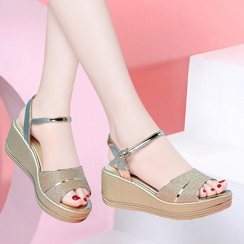 Womens sandals with one line buckle in summer 2020