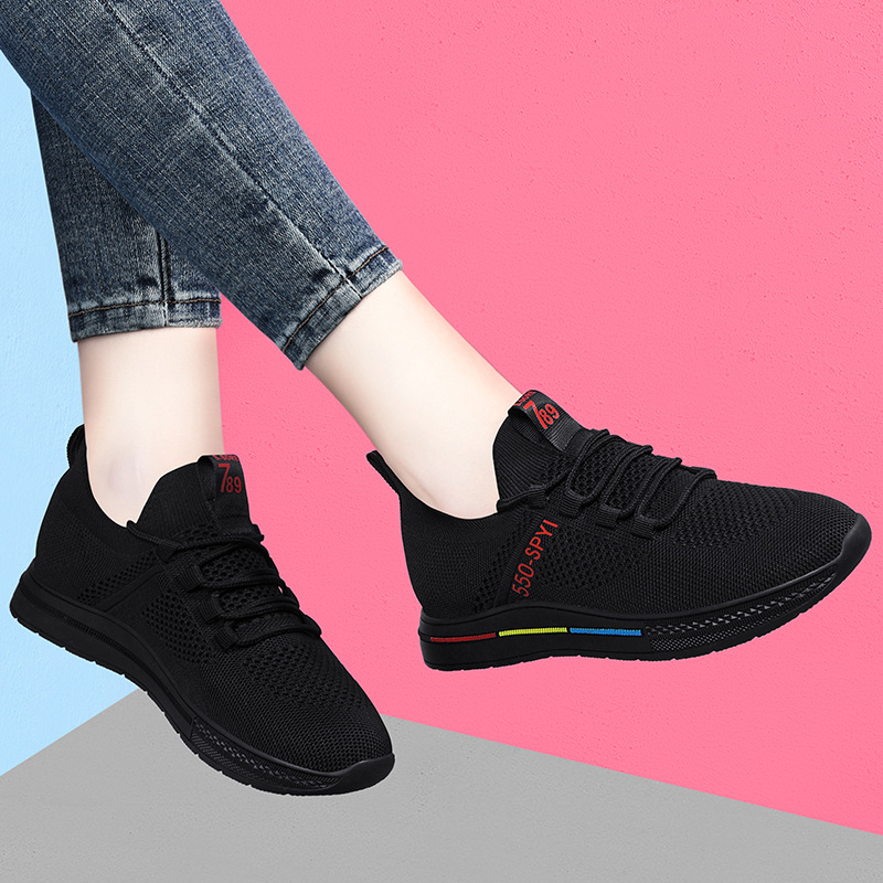 Sports shoes womens versatile fall 2020 new mesh shoes mesh surface breathable light casual running shoes flat bottom