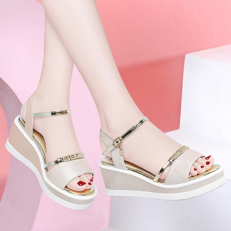 Slope heel sandals women 2020 new summer fairy shoes with thick sole and high heel and Qipao skirt