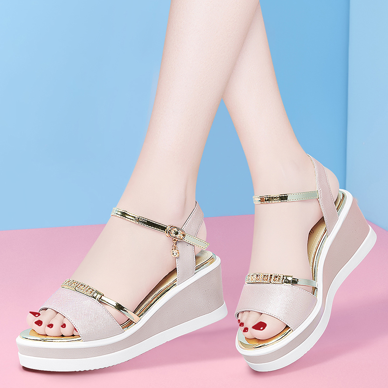 High heeled sandals with sloping heels for women in summer 2020