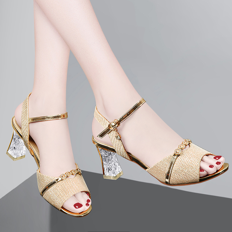 Sandals women 2020 new summer fashion womens shoes versatile Crystal Square heel fish mouth with skirt high heels in summer