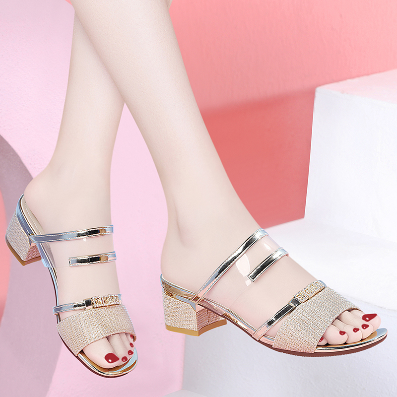 Sandals 2020 new summer thick heeled mid heeled slippers, fashionable and versatile, water drill with skirt sandals