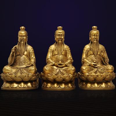 黄铜三清道祖像摆件铜像太清玉清上清道德元始灵宝天尊神像工艺品