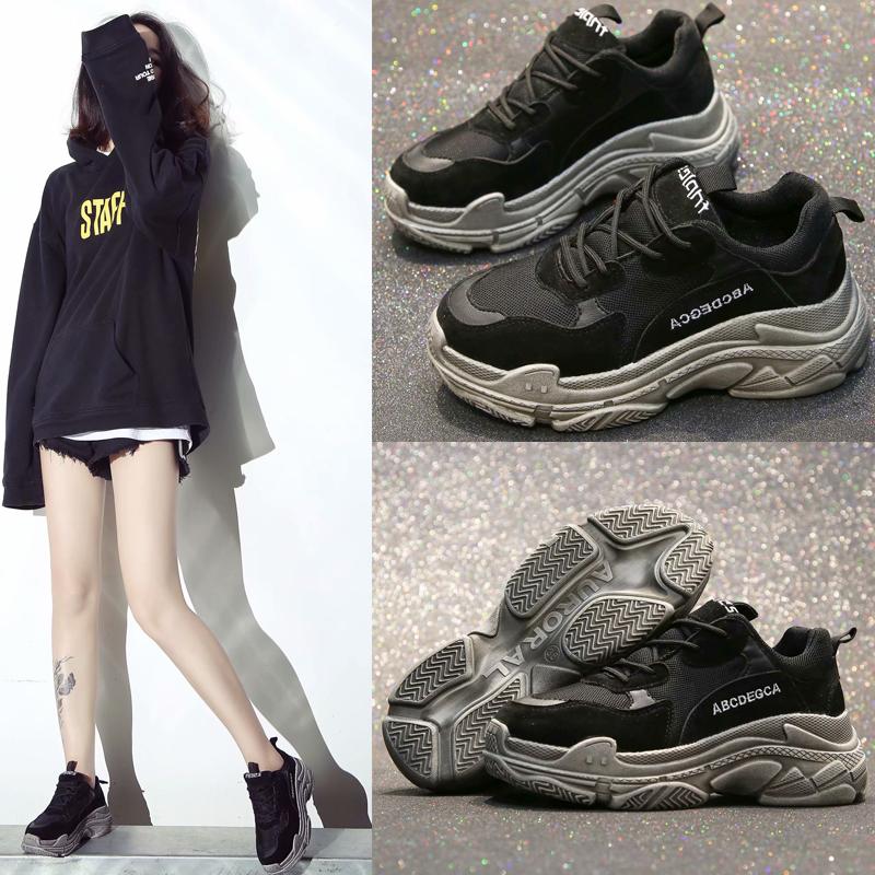 老爹鞋女ins超火的鞋子韩版休闲百搭厚底学生复古情侣黑色运动鞋