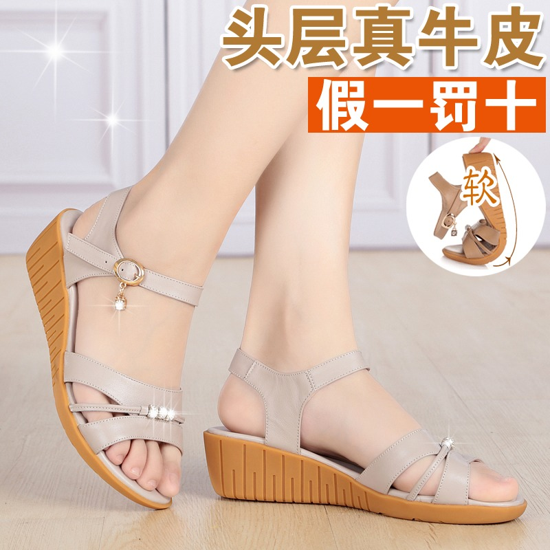 New summer womens sandals womens sandals leather sandals womens leather sandals slope heel flat shoes womens sandals