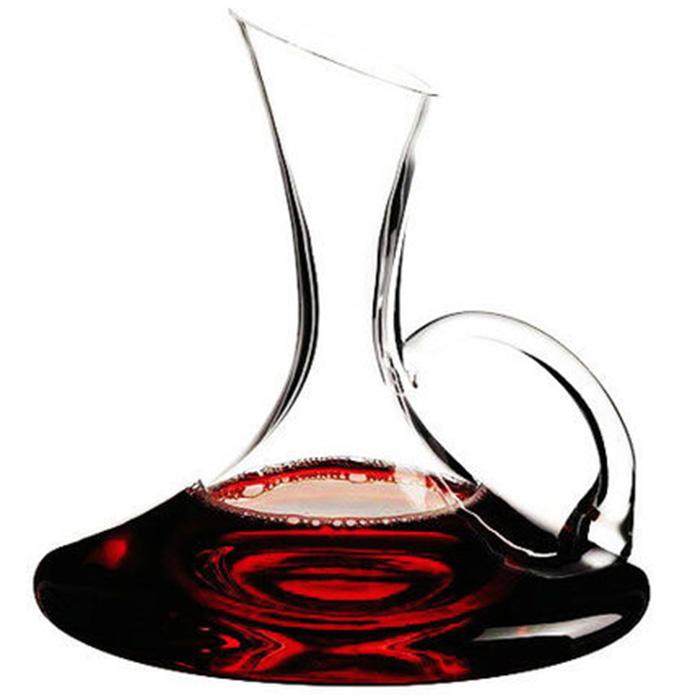 無鉛水晶杯玻璃杯醒酒器帶把斜口酒壺紅酒豎琴分酒器葡萄酒盛酒器