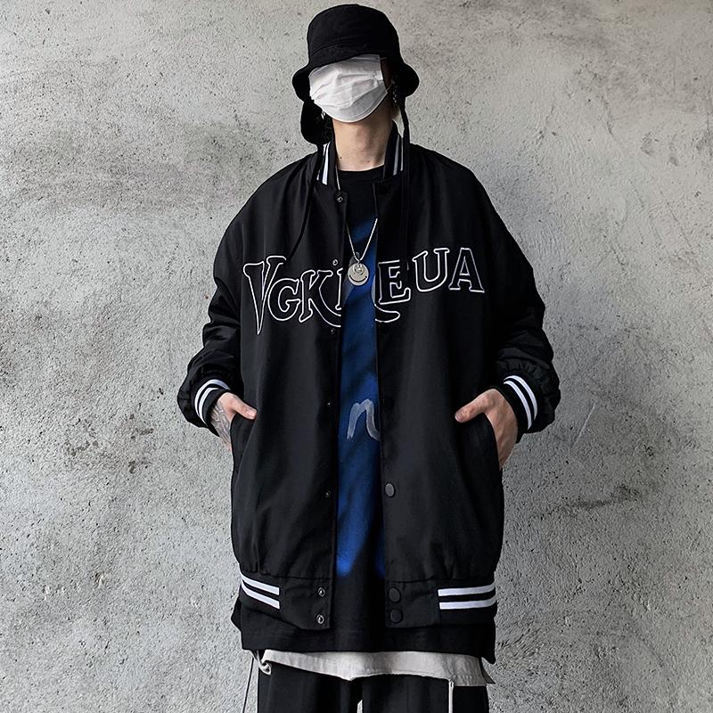 Tide brand European and American street retro letter embroidery baseball uniform jacket male hip-hop bf Harajuku style loose casual jacket