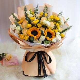 向日葵花束生日零食鲜花速递同城花店成都北京上海杭州全国配送花