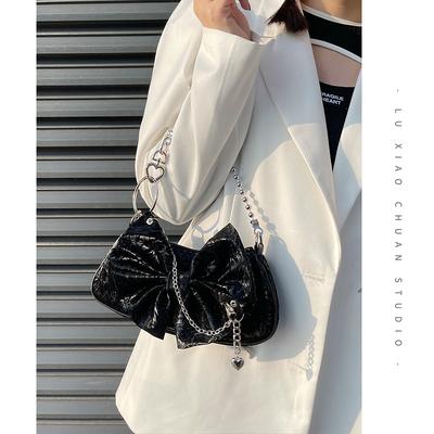 Road boat original bow love chain armpit bag female 2021 new trendy Y2k hot girl portable diagonal bag