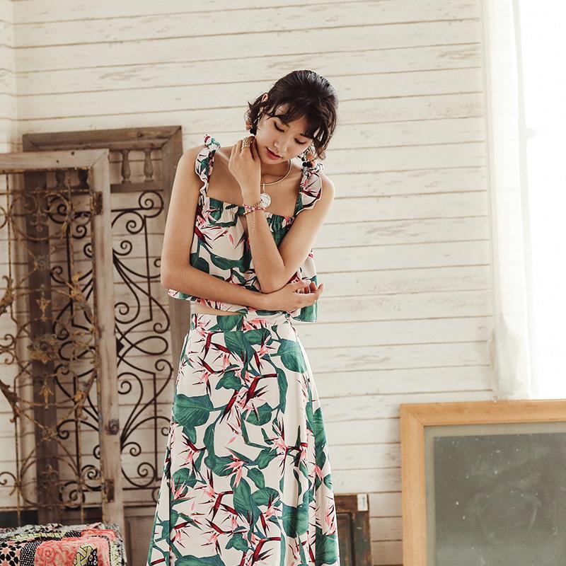时尚波西米亚海边度假套装女夏沙滩显瘦半身裙长裙休闲蜜月两件套
