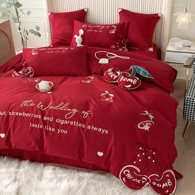 小清新婚庆四件套全棉60支长绒棉樱桃刺绣结婚红色被套床单六件套