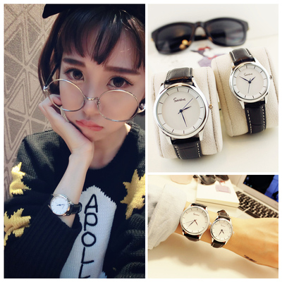 Korean version of the watch female students Korean fashion trend retro simple male watch female table genuine belt couple a pair of watches