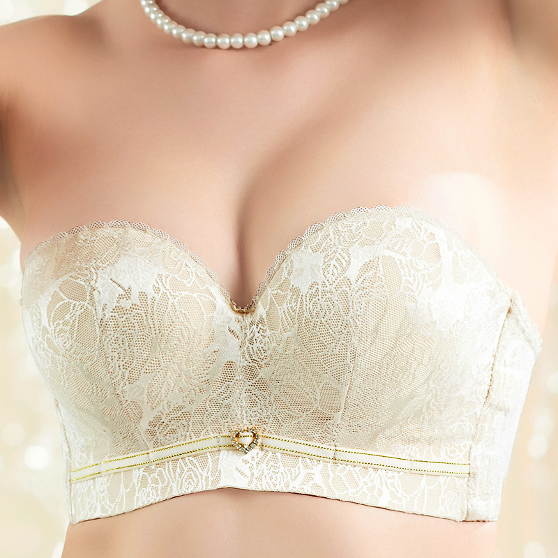 Strapless bra invisible small chest paste thickening gather the ...