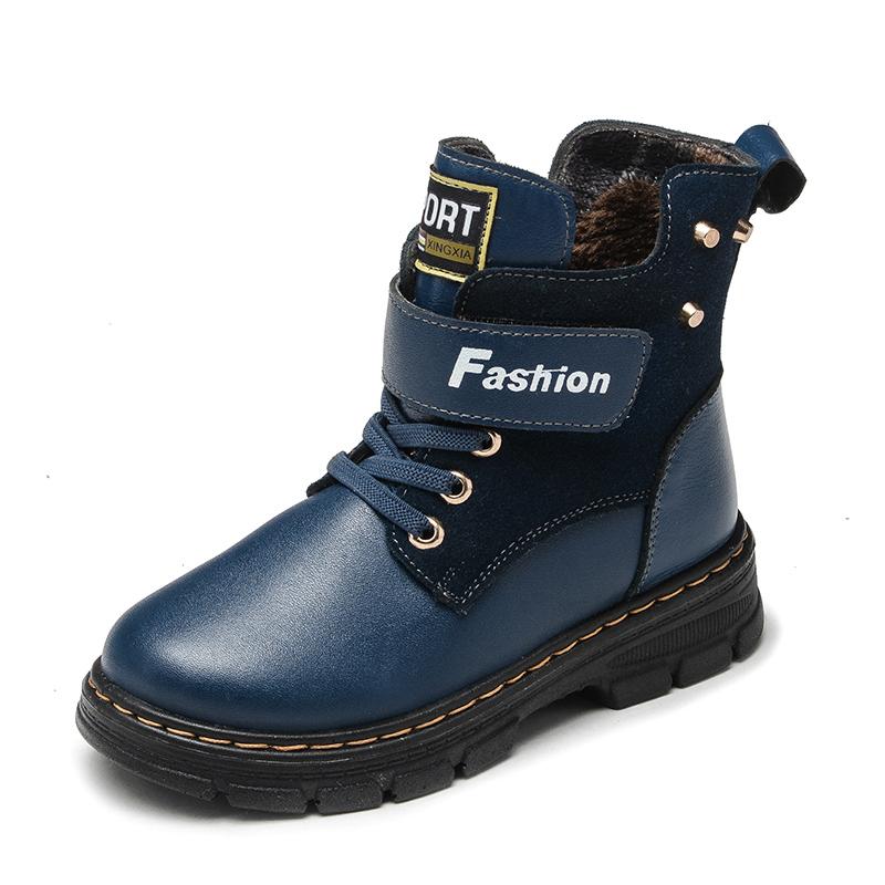 乖乖狗童鞋 兒童二棉棉靴男童靴子真皮童鞋馬丁靴皮靴 童鞋