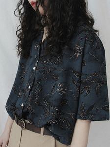 印花衬衫夏季薄款港风复古短袖日系设计感小众女装古着感衬衣上衣