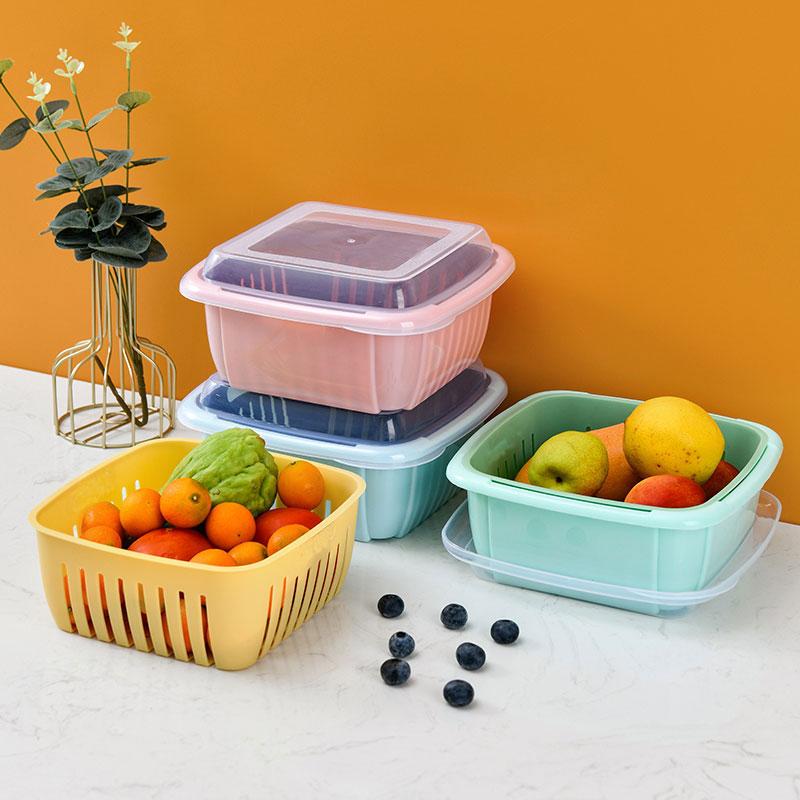 双层沥水篮水果蔬菜保鲜盒收纳盒