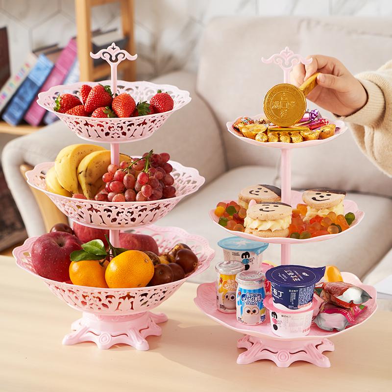 多层水果盘现代客厅茶几家用网红北欧风格多层干果盆零食盘水果篮