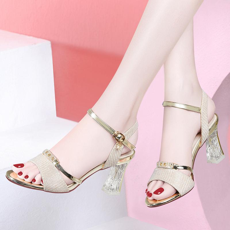 台湾红蜻蜓企业有限公司RD凉鞋粗跟女2020新款夏季百搭水晶跟高跟