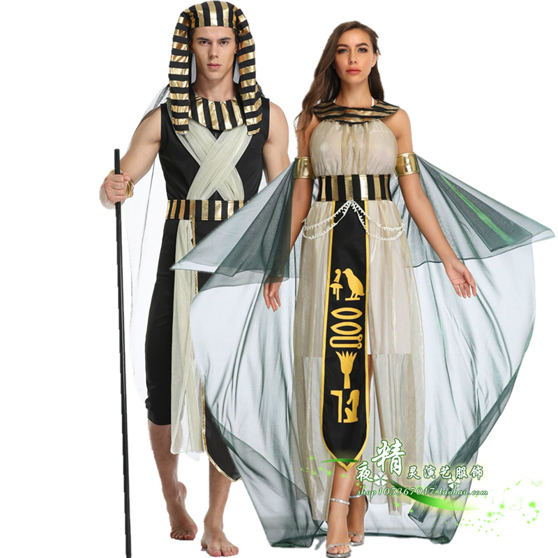 Egyptian pharaoh Cleopatra Costumes Halloween costumes masquerade dance couple suits adult men and women