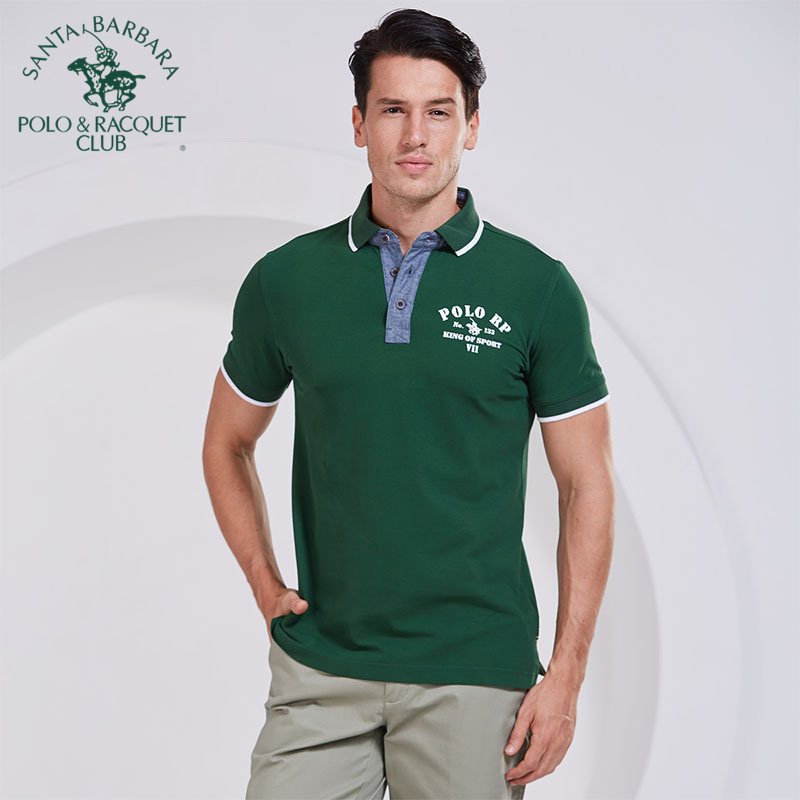 S. B.polo/st. Paul mens business casual slim fit short sleeve T-shirt