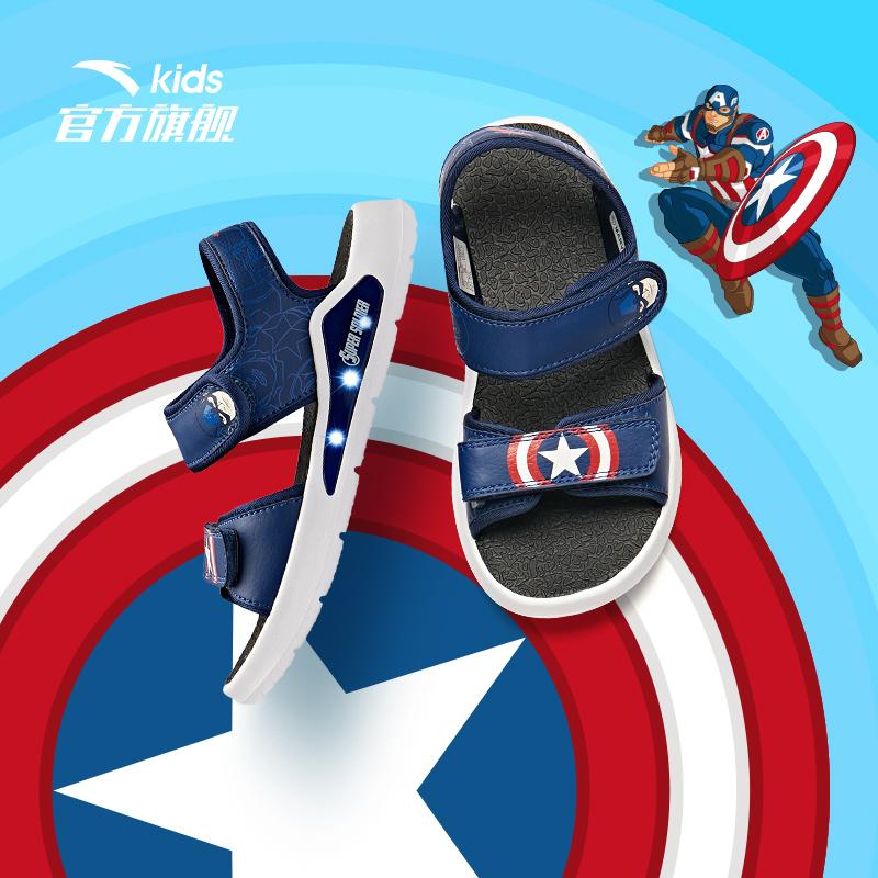 安踏儿童凉鞋男童露趾运动凉鞋2020新款夏季小童蜘蛛侠闪亮灯凉鞋
