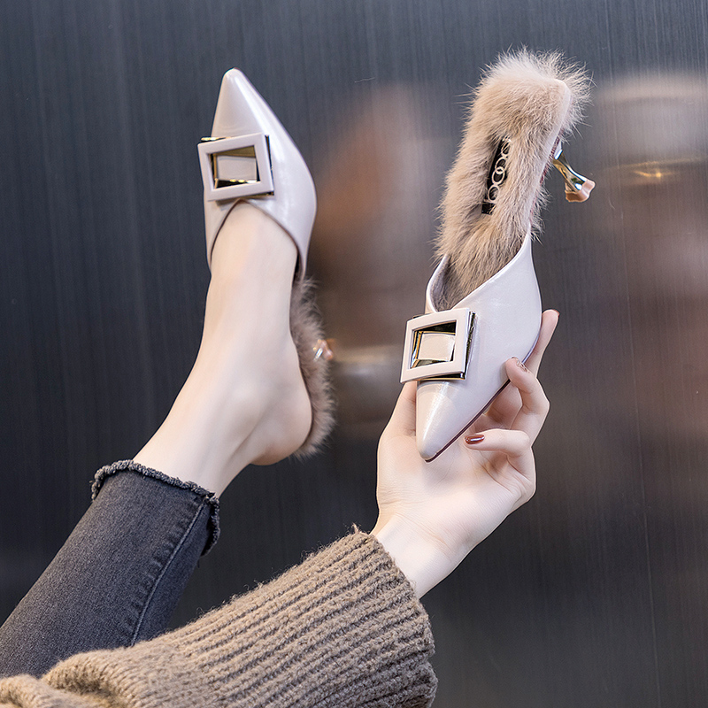 High heels women 2021 new summer spring and autumn stiletto pointed toe Baotou single shoes half drag sandals and slippers fashion outer wear