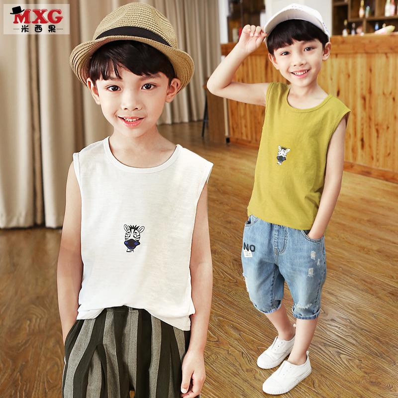 米西果儿童男童背心纯棉2018夏季新款中大童童装韩版潮装小孩帅气