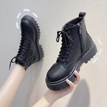 黑色显脚小马丁靴女秋季厚底潮ins2020新款英伦风网红瘦瘦短靴子