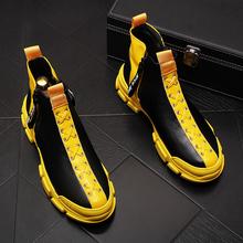 男式高帮板鞋厚底内增高时尚男靴子透气休闲鞋潮流短靴个性牛仔靴
