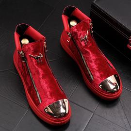 男士高帮板鞋休闲皮鞋加绒乐福鞋发型师保暖马丁靴短靴保暖男靴子图片