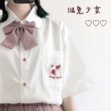 「谜兔少女」日系原创软妹情侣校园学院风刺绣麦穗JK校徽短袖衬衫