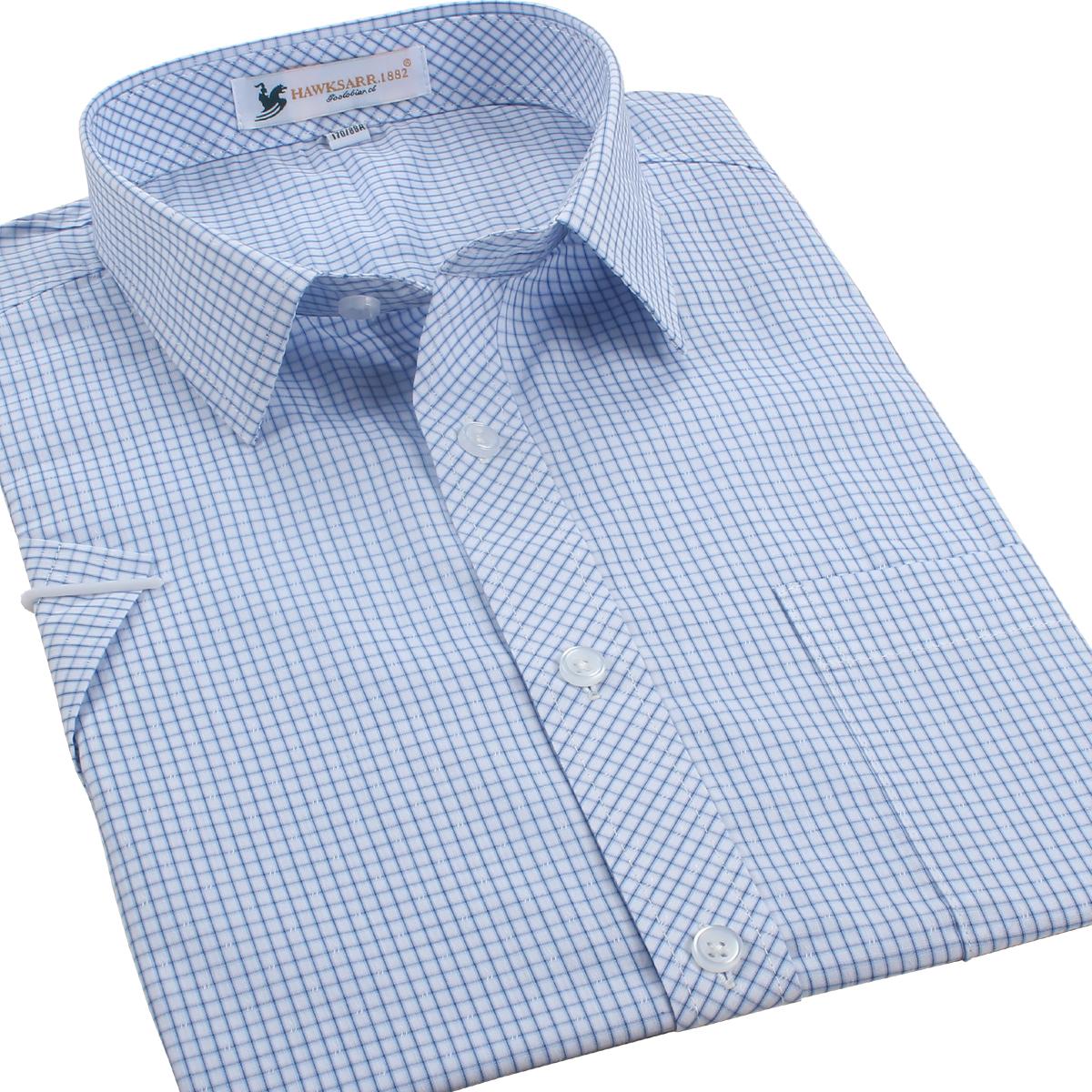 男士短袖衬衫薄款 纯棉宽松半袖格子衬衣 休闲男装夏款