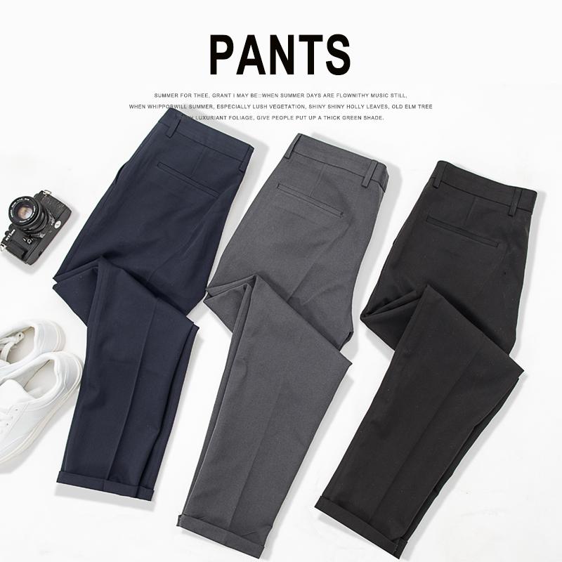 西裤男士修身商务正装冬季休闲黑色西服长裤子小脚灰色九分小西裤
